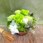 京都発!!抹茶の香り付きボリュームのあるプリザーブドフラワー クリアケース付き